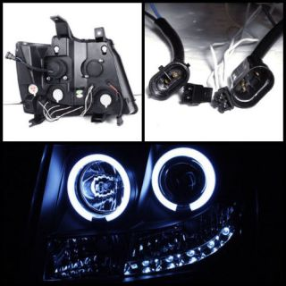 Smoked 07 13 Avalanche Suburban Tahoe 2X Halo LED Projector Head Lights Fog Lamp