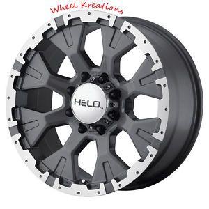 20 inch Dark Silver Wheels Rims Helo 878 Chevy GMC 1500 Trucks 6 Lug 6x5 5