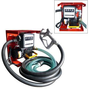 Oil Fuel Diesel Gas Transfer Pump w Meter 12' Hose 110V Electric Auto Shop Tool