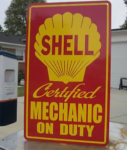 Shell Mechanic on Duty Gas Service Station Sign Auto Repair Motor Oil Gas Pump