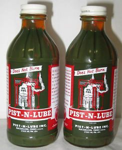 2 ea Pist N Lube Piston Lube Bottles Motor Oil Gas Pump Garage Station Auto