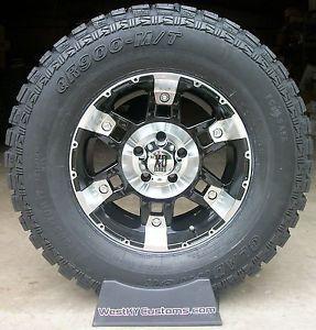 "17x9 KMC XD Spy Black Machined Gladiator QR900 MT 285 70 R17 33"" Mud Tires"