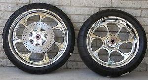 Eliminator 7 Chrome Wheels Tires and Rotors 4 Harley Davidson 09 12 FLH 21F