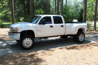 2005 GMC 3500 Crewcab 4x4 Duramax Diesel Allison Custom Lifted 22 5 Semi Wheels