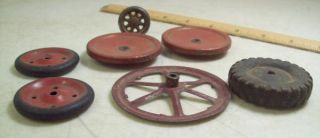 Vintage Antique Toy Truck Car Wheel Tires Parts Lot Steel Cast Iron Rubber