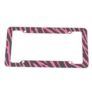 Pink Zebra Safari Animal Print Metal License Plate Frame