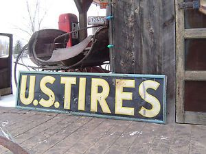 Old Vintage Original U s Tire Advertising Sign Dated 1940 Gas Pump Oil Can Car