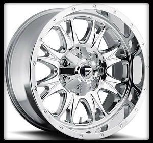 "20"" Fuel Throttle Chrome Rims 35x12 50x20 Nitto Trail Grappler Tires Wheels"