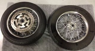 Harley Davidson Touring Spoke Wheels Rotors Dunlop Tires Chrome 2002 2008