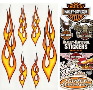17 Flame Decals 1 Free Harley Davidson Decal