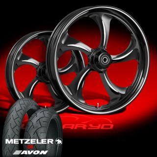 """Wanaryd Rollin Black 21"""" Wheels Tires Package Kit Set 2009 13 Harley Bagger"""