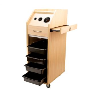 Locking Maple Salon Trolley Cart Hair Beauty Salon Station Shelves Wheels Lock