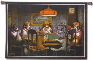 A Friend in Need Wall Tapestry Dogs Play Poker Playing