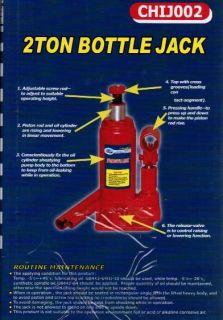 2 Ton Bottle Jack Auto Care Tires Lift Heavy Objects  CHIJ002