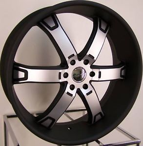 """24"""" Black KMC Brodie Wheels Rims Ford F 150 Expedition Lincoln Navigator 6x135"""