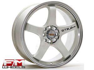 17x7 5 White GTR Sports Formula 4x100 Rims Yaris Mini Fiat 500 Neon Aveo Wheels
