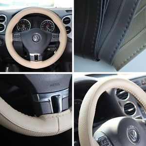 New Leather Steering Wheel Wrap Cover 47009 Beige Hummer Fiat Car Needle Thread
