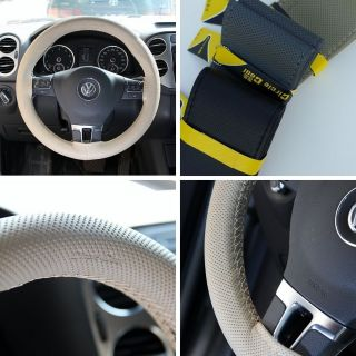 New Leather Steering Wheel Wrap Cover 47003 Beige Hummer Fiat Car Needle Thread