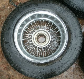 Jaguar XKE V12 E Type 72 Spoke Chrome Wire Wheels Tires Dunlop Rims 6JKX15X20