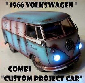 66 Volkswagen VW Combi Rat Rod Barnfind 1 18 Diorama Parts Working Lights