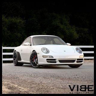 """19"""" Ruger Mesh Black Concave Wheels Rims Fits Porsche 997 911 Carrera 4 4S Turbo"""