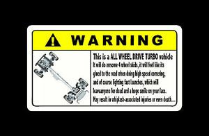 Warning AWD Sticker Decal 4 WRX Subaru EVO STI R32 GTR