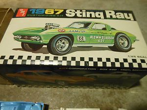 Vintage AMT 1967 Chevrolet Sting Ray Corvette Car Model Kit Junkyard Parts Box