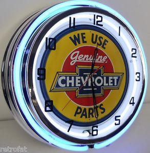 """Chevy 18"""" Dual Neon Lighted Clock Parts Garage Bowtie Emblem Sign Camaro SS RS"""