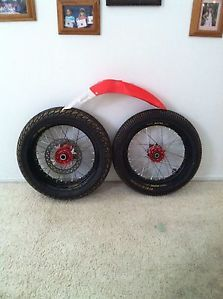 06 CRF450R Honda Supermoto Wheel Set Rims Tires Front Fender