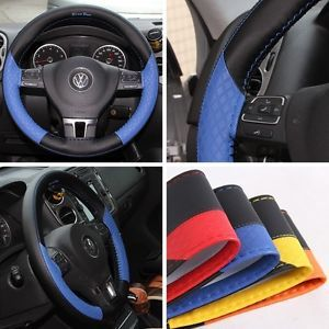 Leather Steering Wheel Wrap Cover 47020 Blue Hummer Fiat Car Needle Thread SUV
