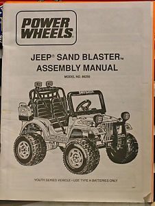 Jeep Sand Blaster Power Wheels Model 86255 Assembly Manual