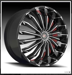 "20"" Scarlet SW5 Black Wheel Rims Tires Fit Toyota Nissan Honda Ford Chevy Kia"