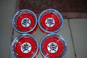 1971 91 Chevy GMC Truck 15x8 GM Red Powder Coated Truck Rally Wheels