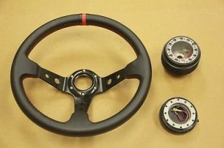Black Red Deep Dish Steering Wheel Hub Adapter Quick Release Civic 96 00 EK Em