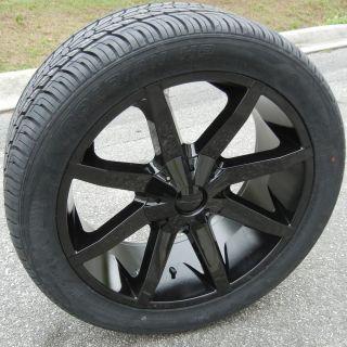 "22"" Black KMC Slide Wheels Rims Nexen Tire Silverado Tahoe Titan GMC Sierra F150"