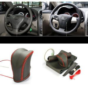 3pcs Ultra Thin Cowhide Sew on Leather Steering Wheel Cover for Toyota Corolla
