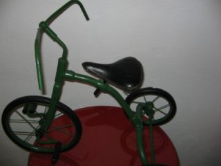 Green Antique Childs Tricycle with Solid Rubber Tires