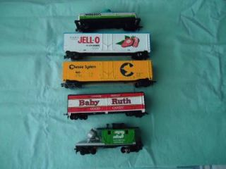 HO Set of 5 Freight Cars Plug Door Box Cars Reefer Car Tank Car Caboose