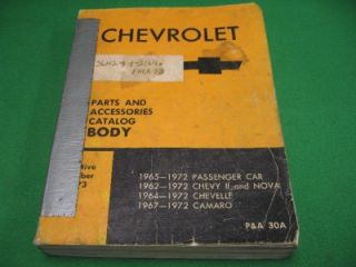 62 72 Chevrolet Chevy II Nova Chevelle Camaro Body Parts Catalog GM Original