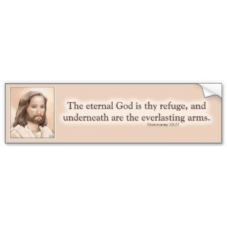 Sepia Jesus Art Bible Quote   Deuteronomy 33:27 Bumper Sticker