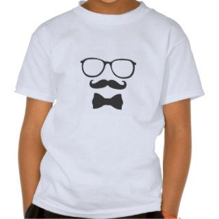 Mustache Hipster Bowtie Glasses Tshirt