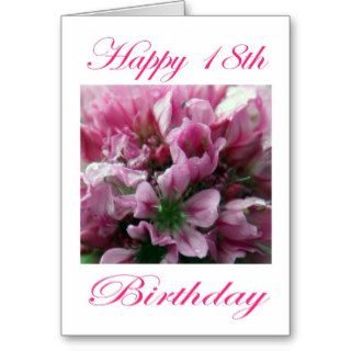 Happy 18th Birthday Pink and Green Flower Greeting Cards