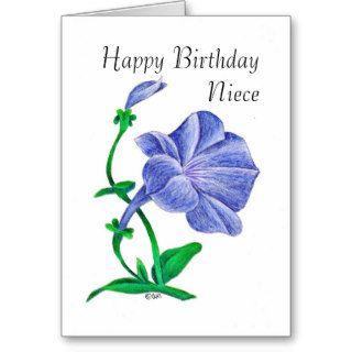 Pretty Blue Petunia, Happy Birthday Niece Greeting Cards