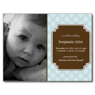 Dot Delight Baby Boy Birth Announcement Post Cards