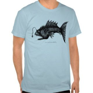 Deep water fish pen ink black and white drawing tee shirts