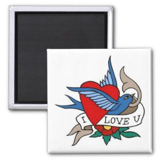 Vintage I Love U Bird, Heart Tattoo Art Magnets