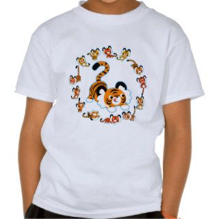 Cute Cartoon Tigers Mandala (Blue) Kids T Shirt