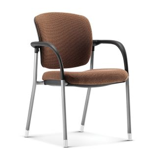 HON Ceres Upholstered Back Side Chair With Arms And Casters 35 H x 24 12 W x 25 D Sand Fabric