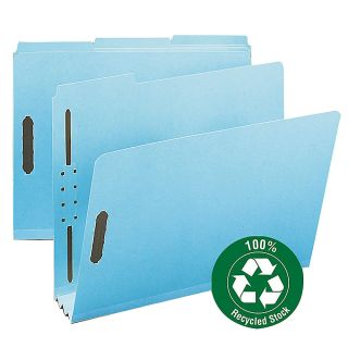 Smead Pressboard Fastener Folders 3 Expansion Letter Size 100percent Recycled Blue Pack Of 25