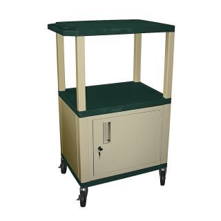 H Wilson 42 Plastic Utility Cart With Locking Cabinet And Electrical Assembly 42 12 H x 24 W x 18 D Hunter GreenPutty